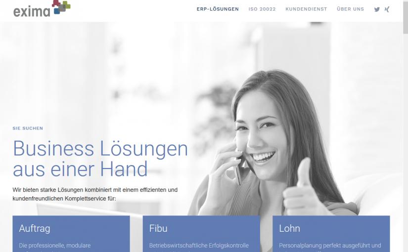 Neue Hompage – Exima GmbH (Kompetenz Partner)
