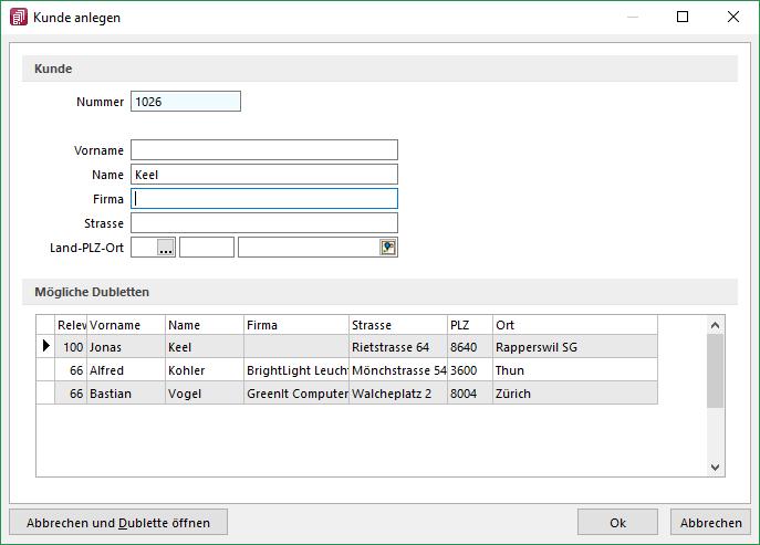 SelectLine-Dublettenkontrolle, Neuerungsbeschreib Version 18.2